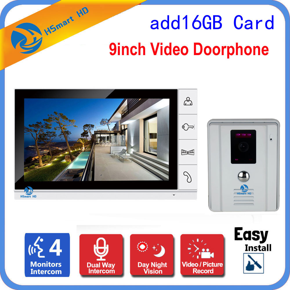 9 LCD Wired Video Door Phone Visual Video Intercom Speakerphone Outdoor IR Camera Video Recording Intercom System Free 8G Card9 LCD Wired Video Door Phone Visual Video Intercom Speakerphone Outdoor IR Camera Video Recording Intercom System Free 8G Card