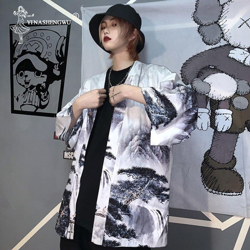 Women Cardigan Kimono Harajuku Half Sleeve Tops Eagle Print Coat Loose Chiffon Shirt Japanese Kimono Traditional Cosplay Costume