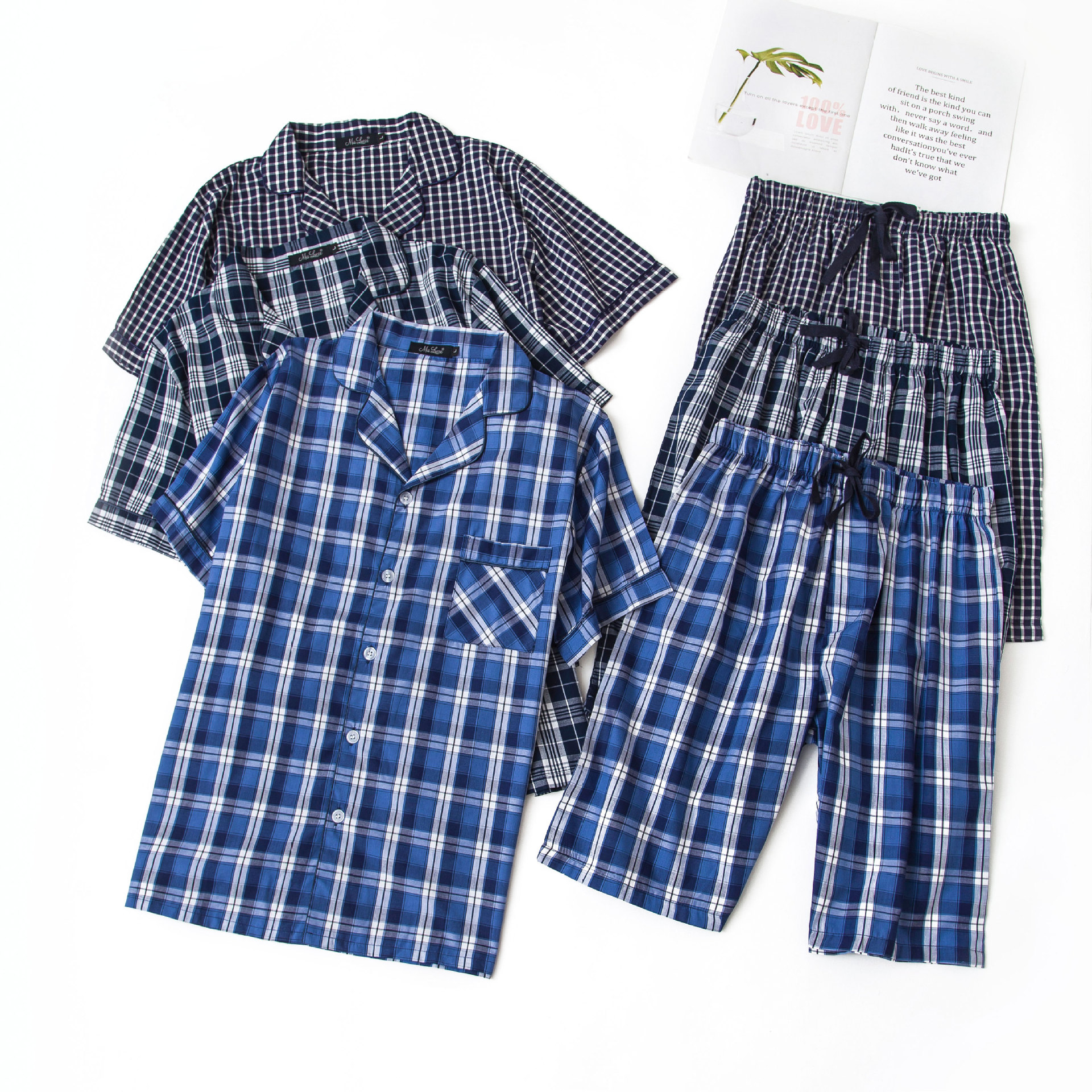 Rapture Plus Size 100% Cotton Mens Summer Woven Short-sleeved Shorts Pajamas Set Male Sleep Classic Plaid Style V-neck Home Sets Colours Are Striking Men's Sleep & Lounge
