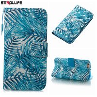 STROLLIFE Plants Artistic Leaf Wallet Leather Cases For iPhone X 5 SE 6 6S 7 7Plus 8 8Plus Luxury Flip Stand Cover Phone Bags