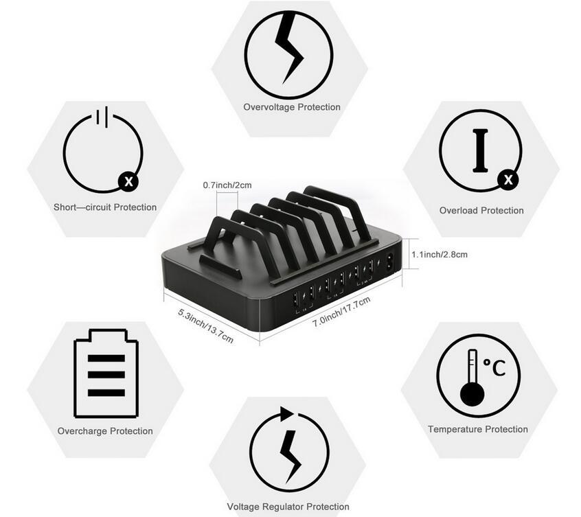 6 θύρες USB Charging Station Dock HUB Charger Organizer - Ανταλλακτικά και αξεσουάρ κινητών τηλεφώνων - Φωτογραφία 6