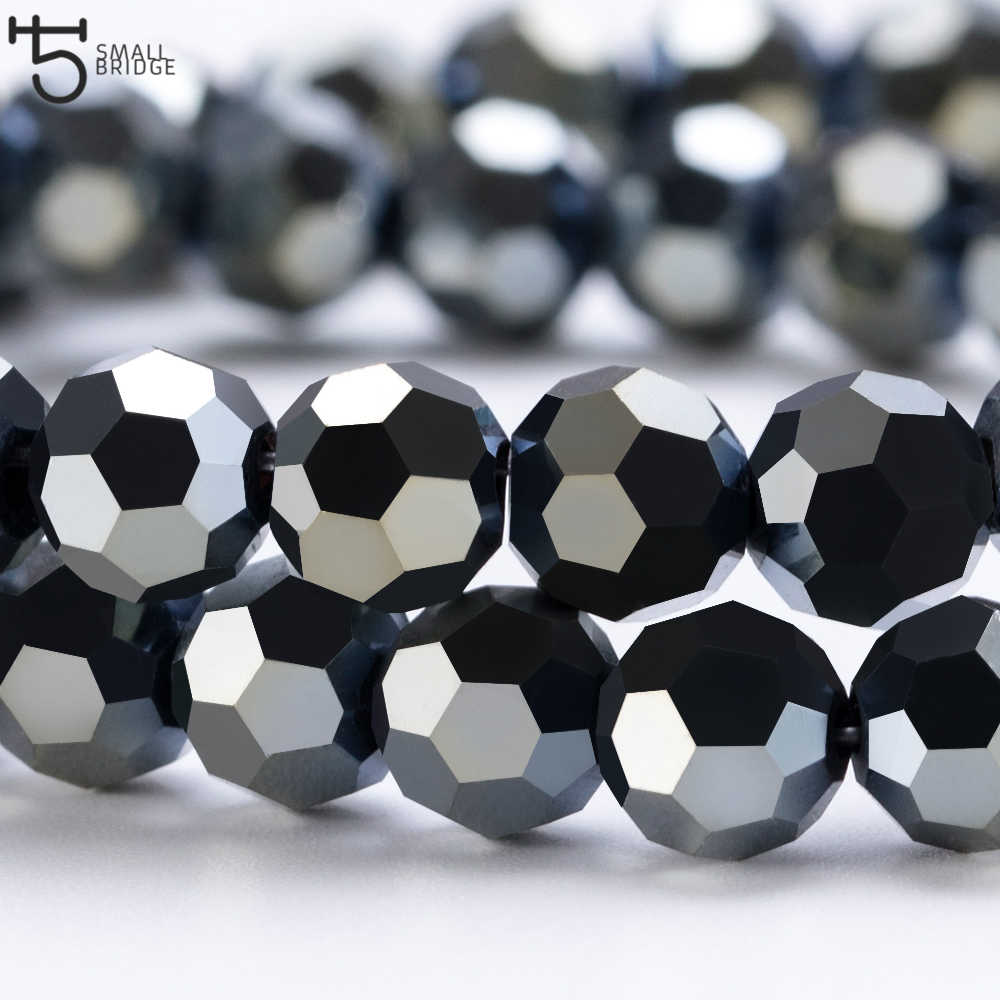 3 4 6 8mm Czech Black Glass Beads For Jewelry Making Bracelet Diy necklace beads Round loose Spacer Crystal Beads Wholesale Z102