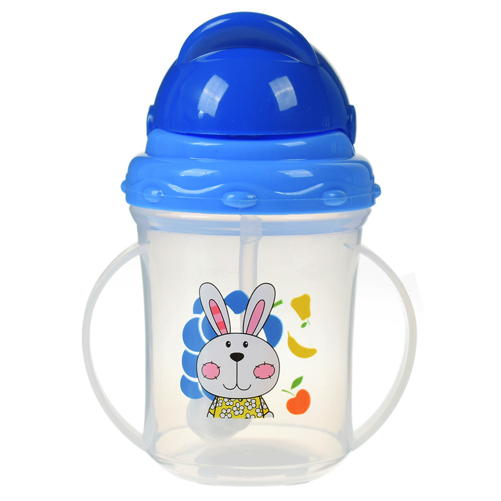 Plastic Infant Baby Feeding Bottle Straw Drinking Bottle With Handles