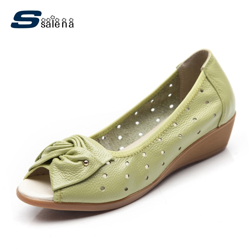 Summer women oxfords genuine leather women flats low to help fashion fish head single shoes breathable size 35-40 #B2187 2016 summer new leather tendon at the bottom side of the empty fish head crude rainbow low heeled shoes women xtf039