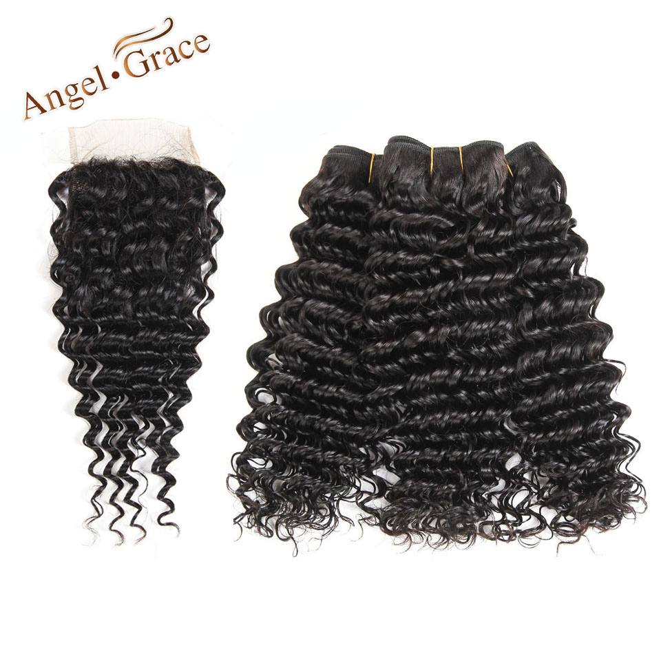Angel Grace Hair Indian Hair Deep Wave Bundles With Closure 4 PCS Human Hair Extension Remy