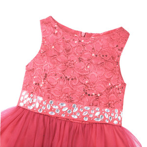 Image 4 - iEFiEL Sequined Flower Girls Dresses Kid Weddings Party Bridesmaid Tulle Dress Children First Communion Princess Summer Dresses
