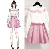 Spring Women Sweet Ruffle Sleeve Peter Pan Collar White Chiffon Shirt+ A Line Draped Solid Skirt Set Lady Party Casual Suit Z108