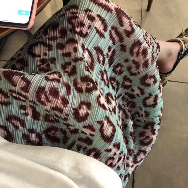 Бесплатная доставка Miyake fold модная леопардовая юбка с принтом в наличии - 5