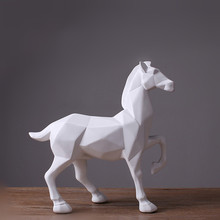 ФОТО mrzoot abstract white horse statue resin ornaments home decoration accessories gift geometric resin white horse sculpture