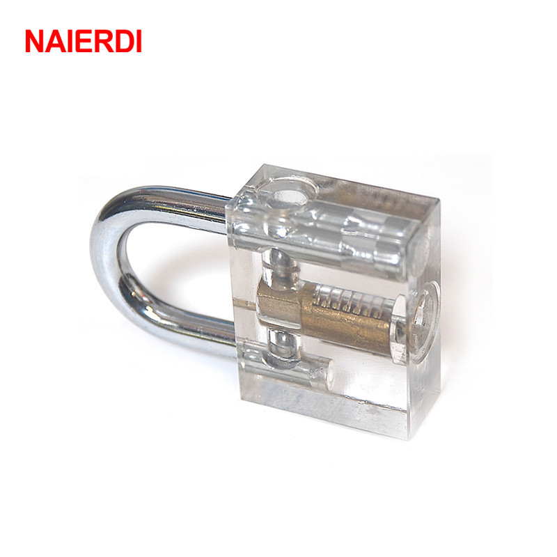 лучшая цена NAIERDI Cutaway Inside View Difficult Practice Transparent Padlock Lock Training Skill Pick View Padlock For Locksmith