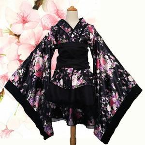 Image 2 - ליל כל הקדושים נשים קוספליי תלבושות אלגנטי סאקורה חליפת הדפסת פרח נשי חלוק שמלת יפני סגנון Vintage ליידי גיישה קימונו