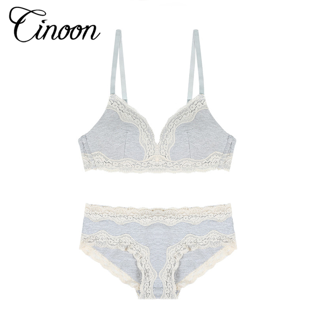 CINOON ABC 2017 Sexy Lace Women Push Up Bra Sets High Quality Bra Brief Sets French Romantic Intimate Cotton Underwear Panty Set