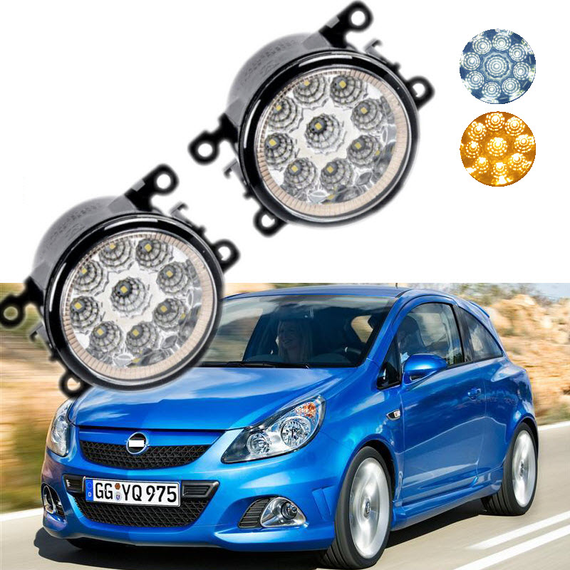 For Opel Corsa D OPC 2007-2011 9-Pieces Leds Chips LED Fog Light Lamp H11 H8 12V 55W Halogen Fog Lights Car Styling for opel astra h gtc 2005 15 h11 wiring harness sockets wire connector switch 2 fog lights drl front bumper 5d lens led lamp