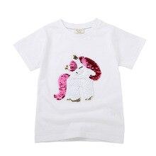 Baby girls Tops Boys Short Sleeve Streetwear T Shirts Variable Sequin pattern 2019 Summer Kids Girl Baby T-shirt Toddler Tops все цены