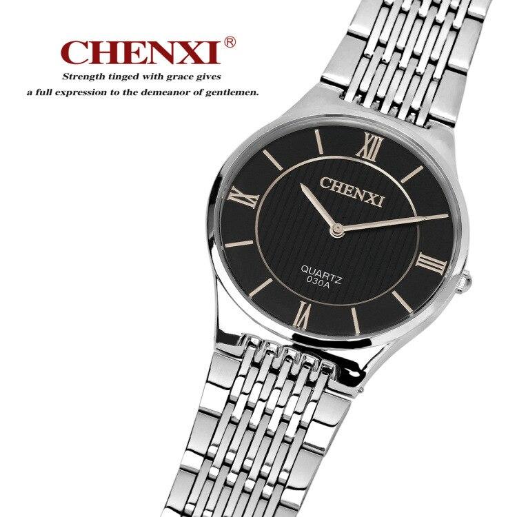 Fashion CHENXI Brand Silver Couple Watch Stainless Steel Men Women Lovers' Quartz Business Dress Wirstwatches Analog Slim Clocks