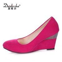 Daidiesha cuña de las mujeres zapatos de tacón alto concise Pointed toe deslizante de seguridad en la oficina de señora trabajo bombas tamaño grande salto alto
