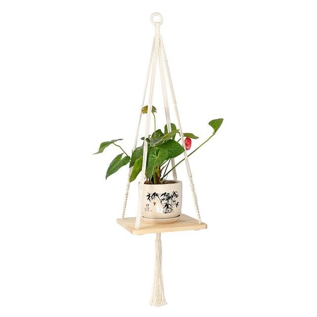 115cm Plant Hanger Hanging Basket Holder Flower Pot Wooden Shelf
