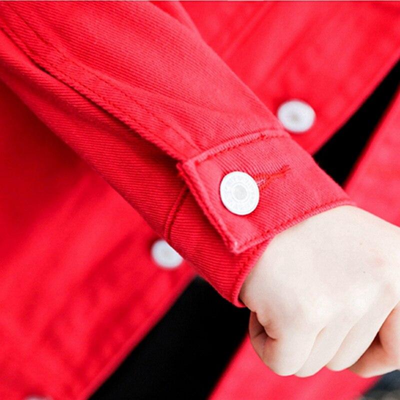 Denim Jacket 2019 Autumn Women Jacket Harajuku Fashion Slim Basic Coat Female Vintage Jean Jackets Casual Denim Jacket Red Black 5
