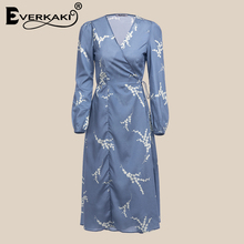 ee2661aca6440 Buy midi floral wrap dress and get free shipping on AliExpress.com