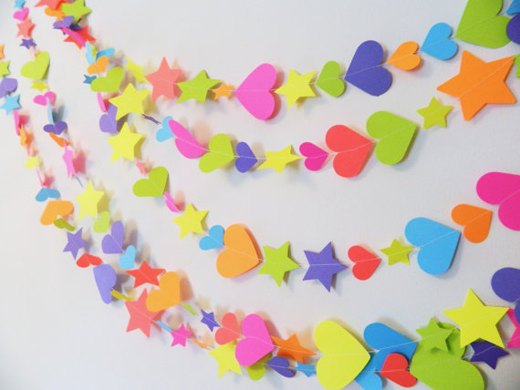 1st 2nd 3rd birthday decorations paper heart and stars garlands my little pony inspired - Decorations