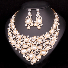 Maynice Luxury Imitation Pearl Jewelry Sets For Brides Gift For Women Wedding Party Prom Jewellery Bridal Necklace Earring Sets