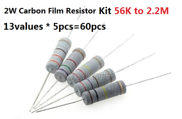 13values * 5pcs=60pcs 56K-2.2M 2W 5% Carbon Film Resistor Kit Pack Assorted Set 82K 100K 150K 220K 270K 330K 470K OHM Assortment