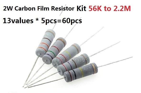 13values * 5pcs=60pcs 56K-2.2M 2W 5% Carbon Film Resistor Kit Pack Assorted Set 82K 100K 150K 220K 270K 330K 470K OHM Assortment