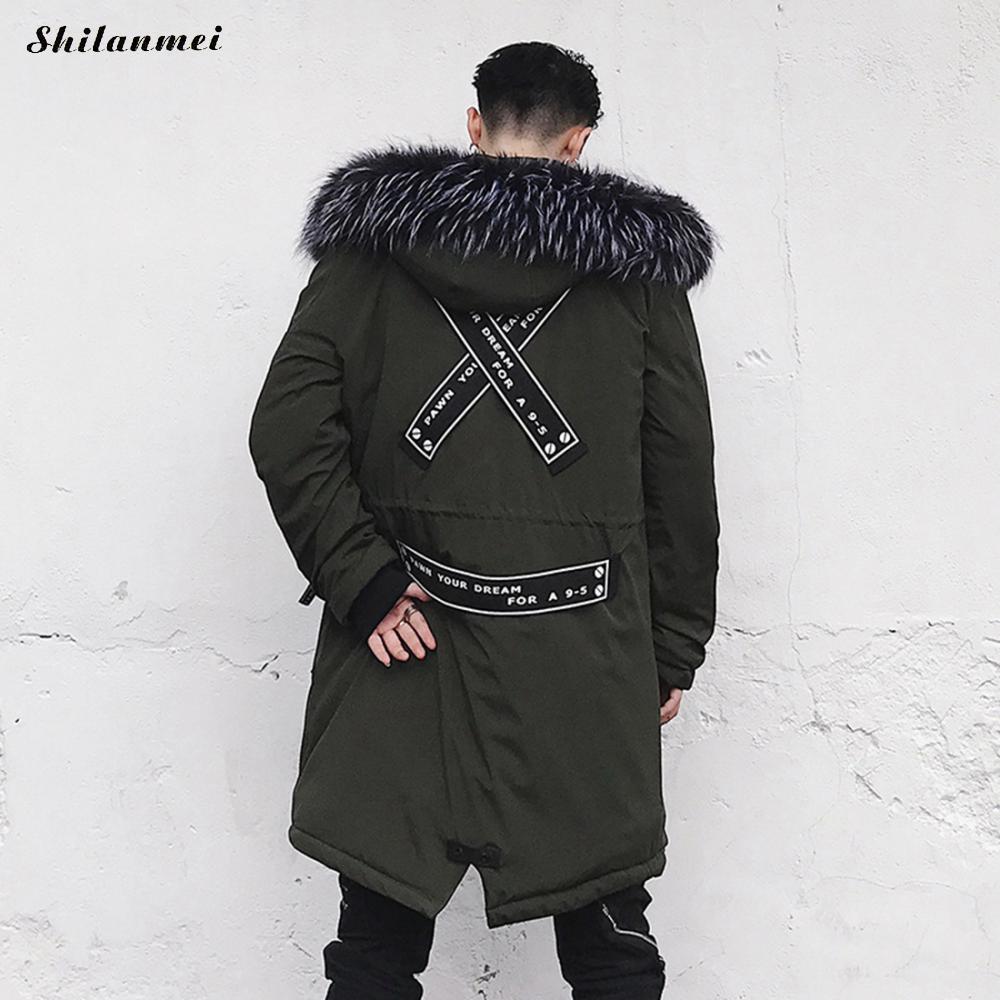 2017 зимняя куртка Для мужчин улица хип-хоп Мех животных парка с капюшоном пальто толстые теплые черные Армейский зеленый Военная Униформа дл...