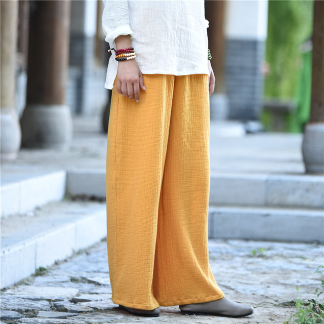 b089a6b3c7d 7 color Solid Elastic waist Cotton Women Wide leg Pants Plus size Casual  Long Pants Women