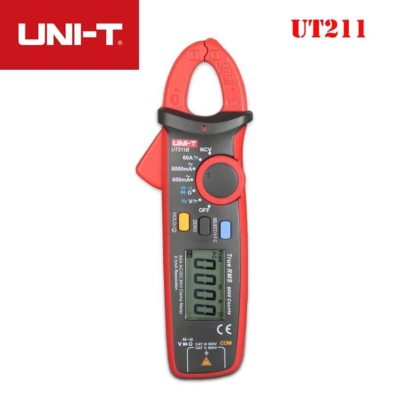 UNI T UT211A/UT211B amperímetro AC/DC 60A Mini abrazadera Digital diodo Ohm verdadero RMS amperímetro VFC/ NCV/prueba de resistencia/capacitancia - 5