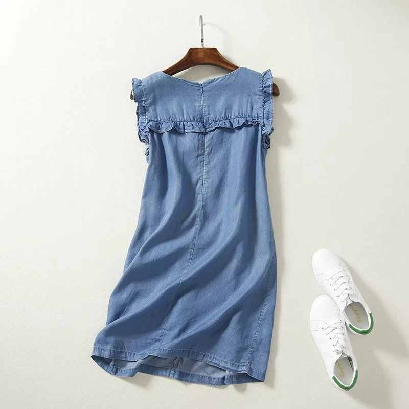 Высокая талия без рукавов Мини мягкое джинсовое платье ,с оборками платья для женщин,повседневные летние сарафаны, короткие джинсовые пляжные платья хлопок