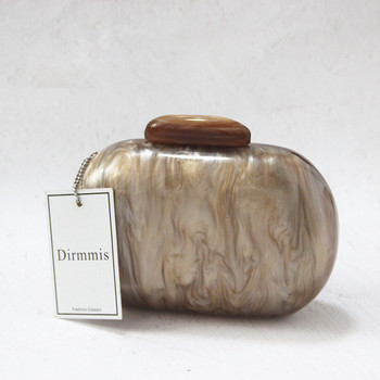 New Brand Fashion Wallet Women Acrylic Cute Round Luxury Marble Solid Brown Evening Handbags Party Wedding Vintage Casual Clutch