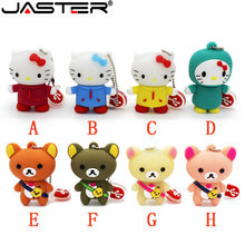 JASTER Bonito do urso do bebê olá kitty pendrive pen drive chaveiro 4 gb 8 gb gb gb 64 32 16 gb usb flash drive vara mini presente bonito(China)