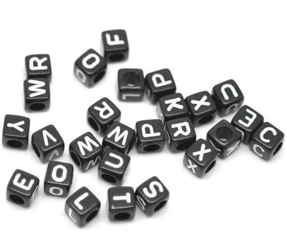 1/4x1/4 Buy One Give One 2019 New 500 Mixed Black Alphabet /letter Acrylic Cube Beads 6x6mm over $100 Free Express