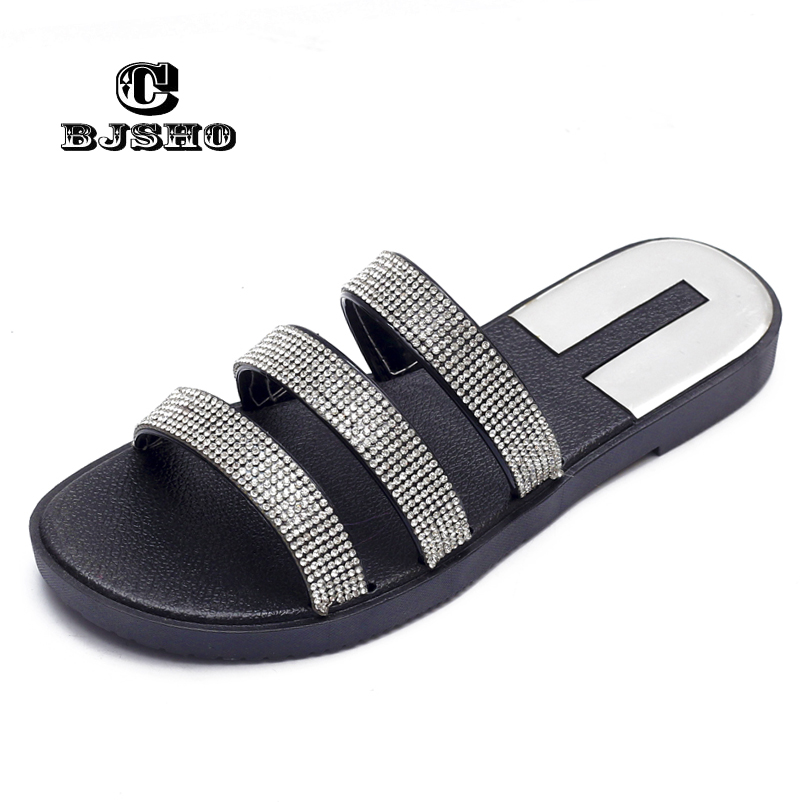 CBJSHO Crystal Slippers Fashion Summer Women Slippers Bling Beach Slides  Flip Flops Ladies Sandals Comfortable Slipper Shoes-in Slippers from Shoes  on ... f748ebc18d73