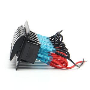 Image 5 - 6 Gang Rocker Switch Panel met Blauwe LED Licht Circuit Breaker voor Marine/auto Waterdichte IP67 Zwart duurzaam effen aluminium paneel
