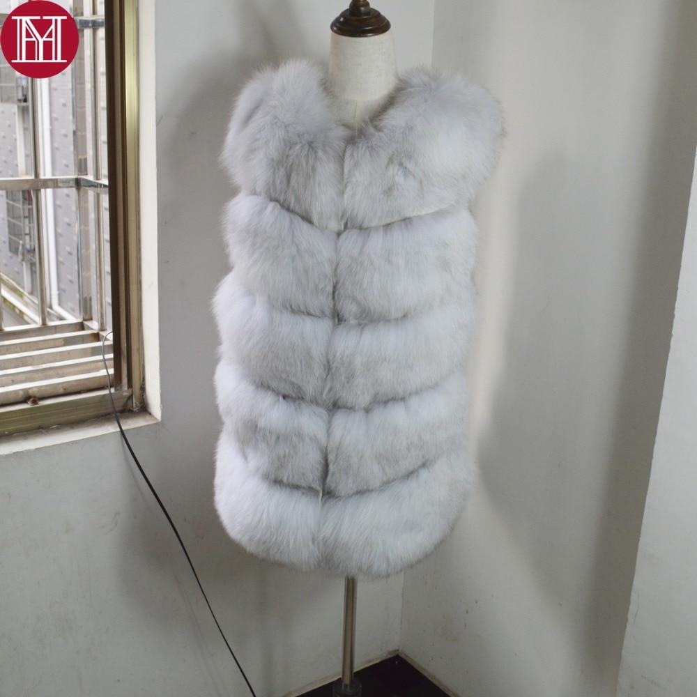 Qualité De Lady Chaude Mode Fourrure Femmes Renard Vente Manches 100 Manteau D'hiver White Haute Sans Réel Fox Naturel Gilet FpnOqX