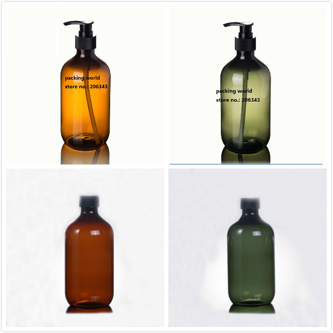 500ml brown green PLASTIC PET BOTTLE WITH BLACK PRESS PUMP OR LID FOR SHAMBOO LOTION EMULSION