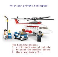 Sluban M38-B0363 259 cái eductional xây dựng 3D Gạch Gạch Xây Dựng Thiết thế giới hàng không tư nhân trẻ em trực thăng đồ chơi