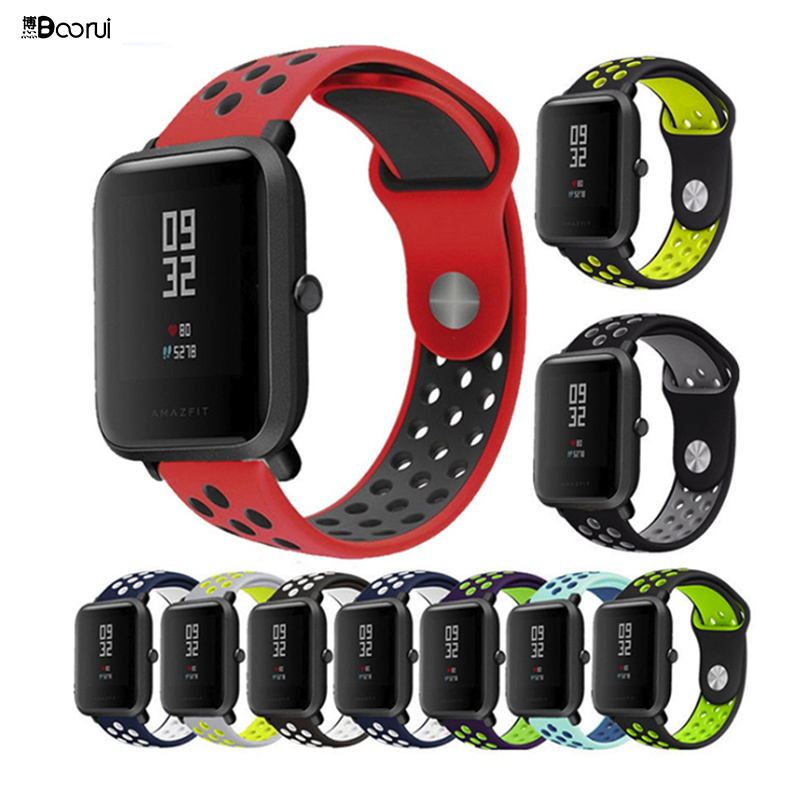 BOORUI  Amazfit Bip Strap 20mm 22mm Double Color Silicone Replacement Watchband For Xiaomi Huami Amazfit Bip Youth Watch