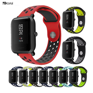 BOORUI amazfit bip strap 20mm 22mm Double Color Silicone Replacement Watchband For Xiaomi Huami Amazfit Bip youth watch(China)