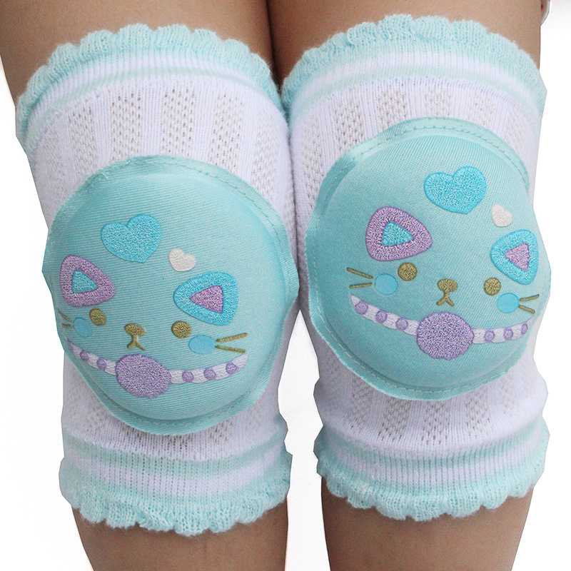1Pair Baby Kneepad Cotton Soft And Comfortable Children Knee Pads Doll Learn To Walk Best Protection Cute Cartoon Smile Cat