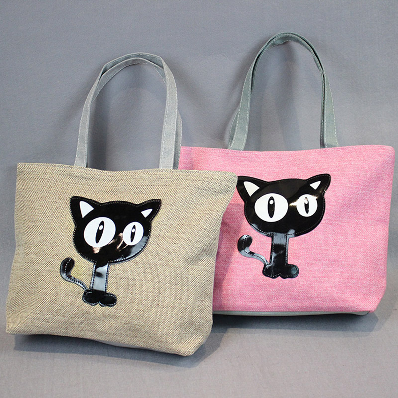 New Cartoon Cats Printed Female Shopping Tote Bag Big Canvas Handbag Women's Shoulder Crossbody Bag Portable Student Bookbag 45