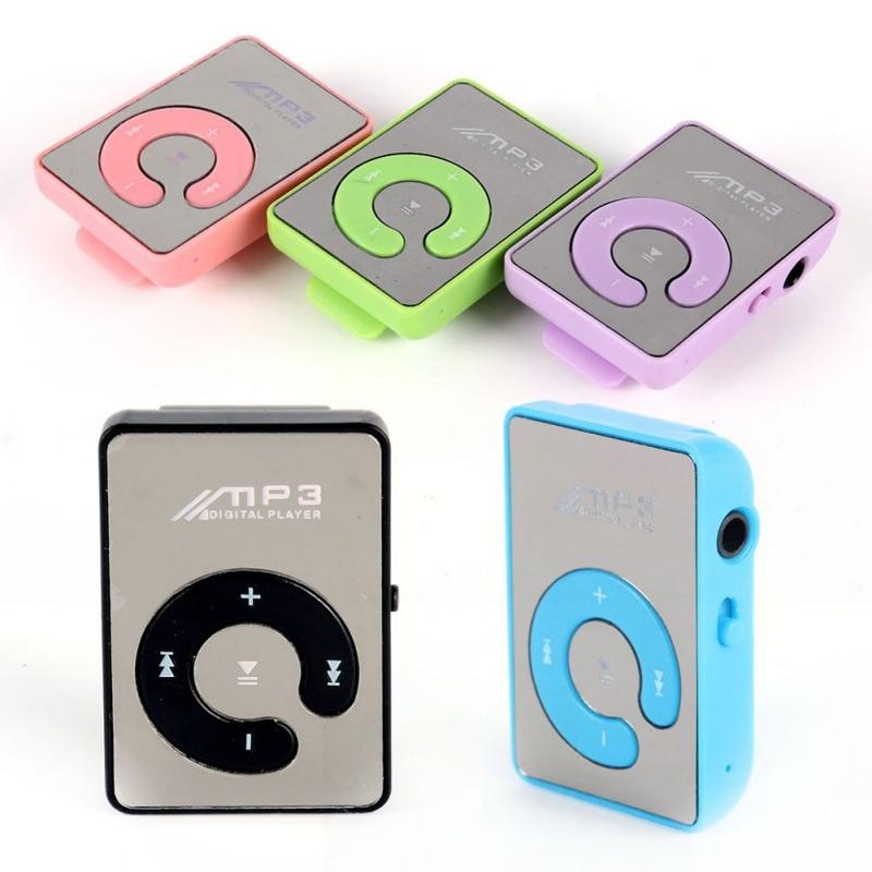 Mp3 Player Mini Mirror Clip USB Digital Mp3 Music Player Support 8GB SD TF Card 6 Colors Ws1