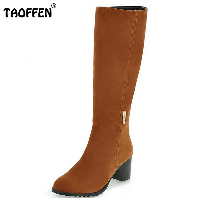 TAOFFEN Women's Shoes Over The Knee Long Boots Vintage Heels Round Toe Less Platform Shoes Winter Boots Woman Size 34-43 anmairon high heels lace charms shoes woman over the knee boots zippers round toe long boots size 34 39 black winter boots shoes