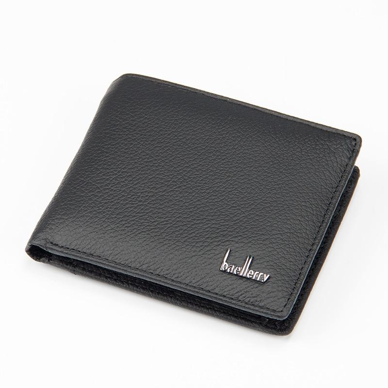 Двойной мужской кошелек из натуральной кожи, Большой Вместительный Многофункциональный кошелек, практичные короткие кошельки, внутренний карман для монет WB183 - Цвет: Черный