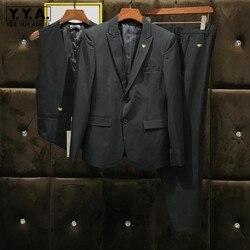 Trajes elegantes de calidad superior para hombre 3 uds. Con bordado de abeja elegante trajes formales de trabajo de oficina de negocios trajes de boda ajustados