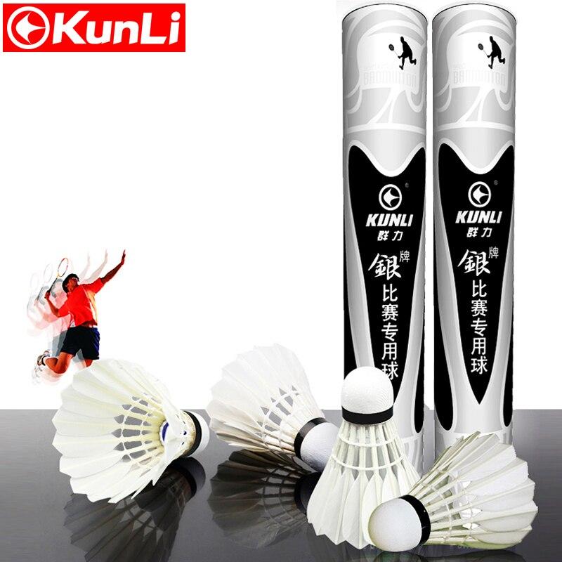 12 pcs/tube D'origine KUNLI-ruban Volant Badminton grade B plume d'oie volant Sandwichcock pour Tournoi