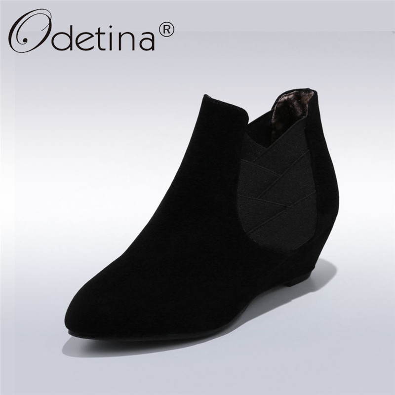 где купить Odetina 2018 New Fashion Spring Ankle Boots For Women Casual Slip On High Heels Shoes Female Wedges Heel Booties Big Size 34-43 по лучшей цене