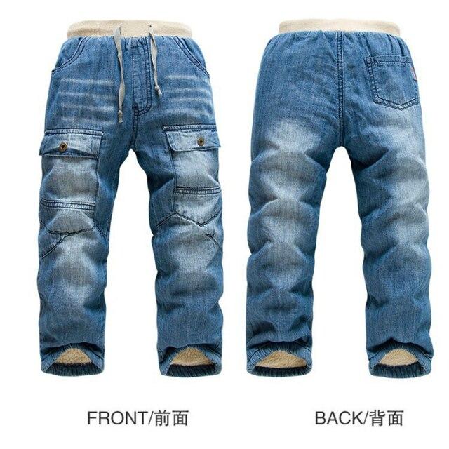 Горячая KK-КРОЛИК зимой дети теплые джинсы детские мальчики camoFleece джинсы толстые теплые детские джинсы для девочки дети брюки